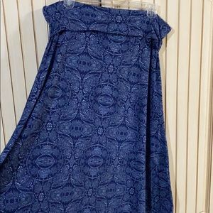LuLaRoe Maxi Long Skirt Dark Blue/ Gray Paisley